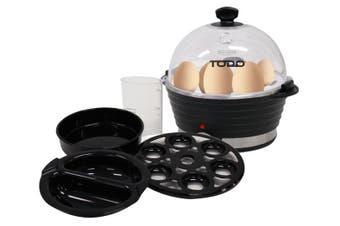TODO 360W Egg Cooker Poacher Omelet Maker Electric 6 Cell Tray Aluminium - Black