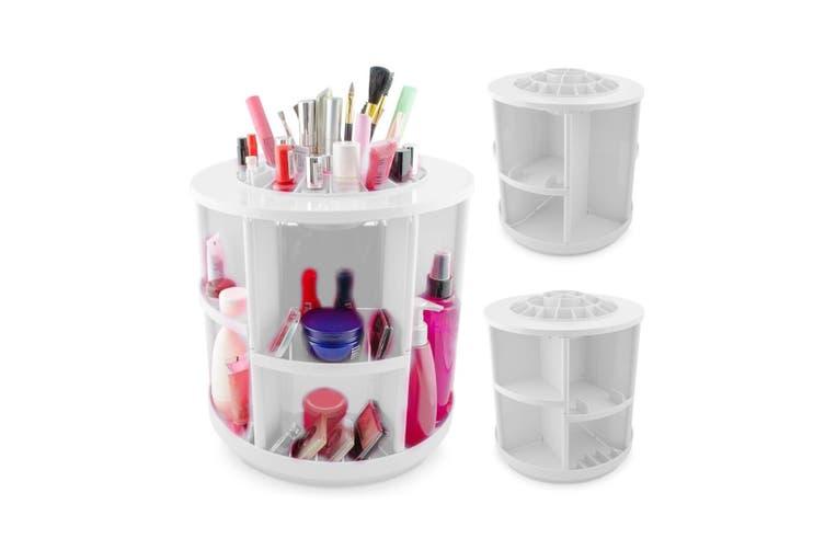 360 Rotating Makeup Organizer Container Spinning Hanger Rack White