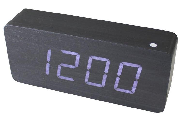 White Led Wood Grain Alarm Clock Temperature Display Mains Battery Black 6016