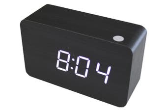 White Led Wood Grain Alarm Clock Temperature Display Usb/Battery Black 6030