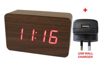 Red Led Wood Grain Alarm Clock Temp Display + Usb Wall Charger Brown 6030