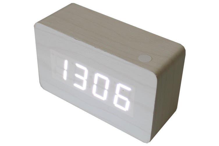 White Led Wood Grain Alarm Clock Temperature Wooden Usb/Battery White 6030