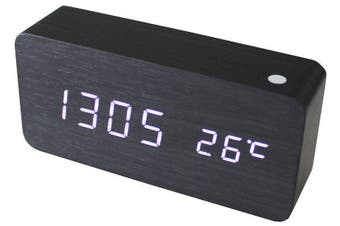 White Led Wooden 3 Alarm Clock + Temperature Display Usb/Battery Wood Black 6035