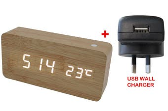 White Led Wooden 3 Alarm Clock Temp Display + Usb Wall Charger Wood Beige 6035