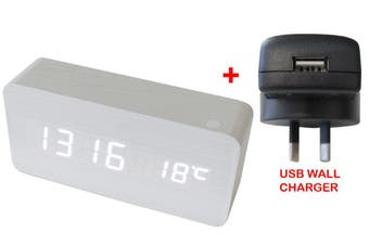 White Led Wood Grain 3 Alarm Clock Temp Display + Usb Wall Charger White 6035