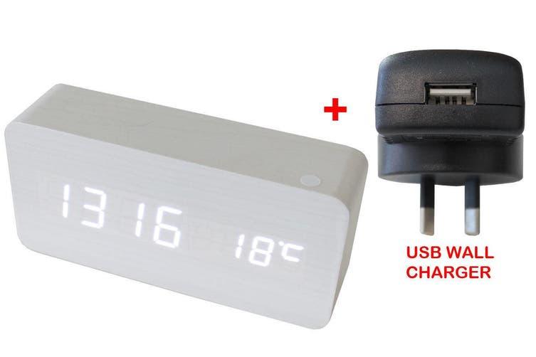 White Led Wood Grain 3 Alarm Clock Temp Display + Usb Wall Charger White 6035
