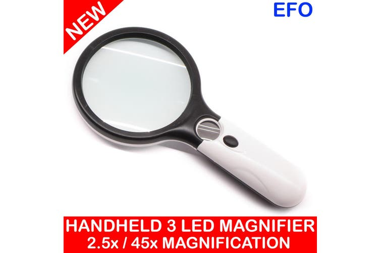 Portable Hand Held Magnifier Glass W/ 3 Led Light 2.5X / 45X Magnification