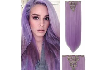"""Purple Deluxe Straight Hair 7Piece 16Clips 20"""" Hair Extension 07Purple"""