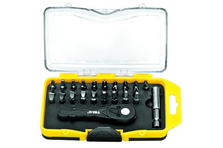 Tni-U 30 Piece Screwdriver Ratchet Wrench Set Ph Torx Flat Square Bit Case