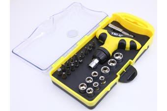 Tni-U 25 Piece Ratchet Screwdriver Wrench Set Hex Sleeve Torx Square Ph Flat Bits