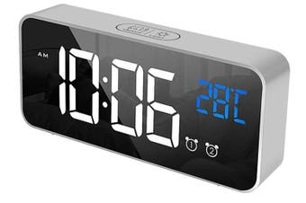 LED Digital Alarm Clock Temperature Music Alarm USB Rechargeable - Silver