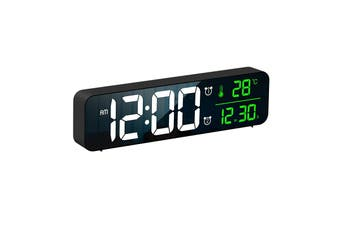 LED Digital Alarm Clock Temperature Music Alarm USB Power Wall Clock - Black