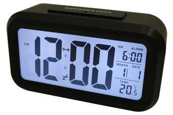 Light Sensor Alarm Clock W/ Backlit Display Portable Battery Operated Black