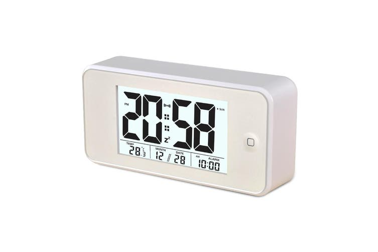 Smart Light Lcd Alarm Clock Backlit Display Portable Battery Operated - Blue
