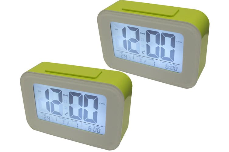 2X Smart Light Lcd Alarm Clock Backlit Display Portable Battery Operated Green