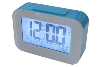 Smart Light Lcd Alarm Clock W/ Backlit Display Portable Battery Operated Blue