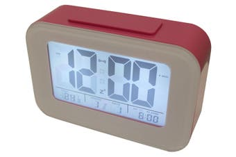 Smart Light Lcd Alarm Clock W/ Backlit Display Portable Battery Operated Pink
