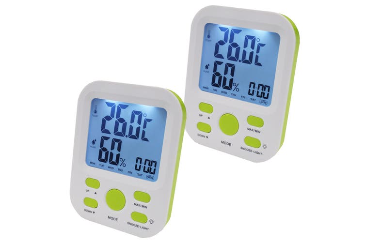 2X Electronic Digital Thermometer Hygrometer Alarm Lcd Clock °C/°F %Rh Green