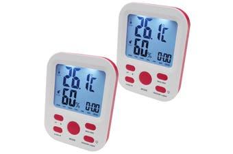 2X Electronic Digital Thermometer Hygrometer Alarm Lcd Clock °C/°F %Rh Pink