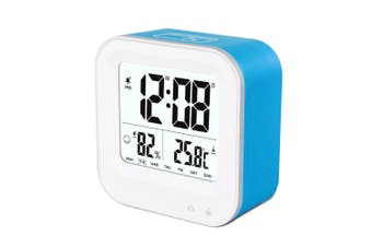Rechargeable Smart Lcd Alarm Clock Portable 600Mah Li-Ion Battery Time Temp - Blue
