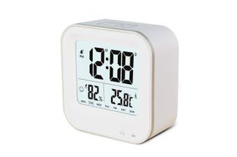 Rechargeable Smart Lcd Alarm Clock Portable 600Mah Li-Ion Battery Time Temp - White