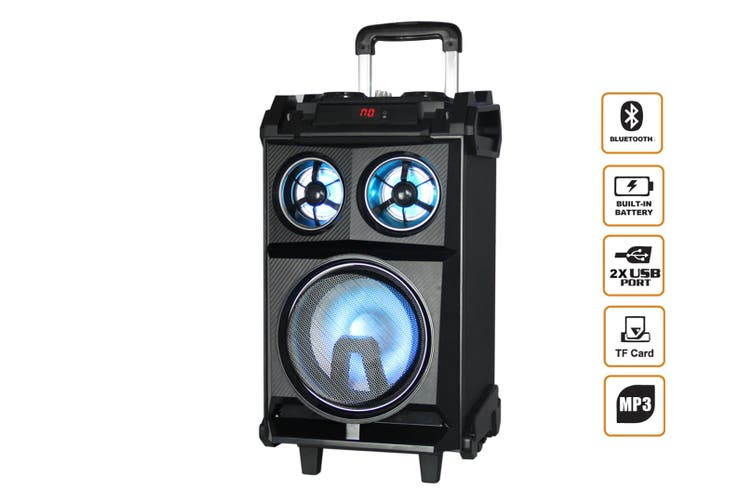 "Bluetooth 8"" Active Speaker System Portable Dj Pa Usb Microsd Led Light"