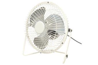 Usb Powered Mini Fan 360° Vertical Angle Adjust Ultraquiet White Metal Bb-819