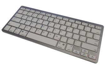 Wireless Bluetooth Keyboard Ipad, Iphone, Win, Mac, Linux White Silver Bk3001
