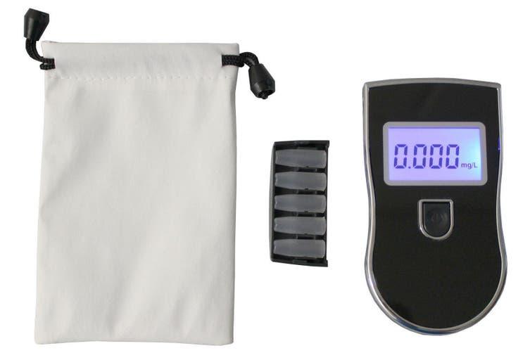 Digital Breath Alcohol Tester Breathalyser Backlit Lcd Display 5X Mouthpiece