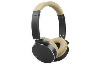 TODO Stereo Bluetooth 5.0 Headphone Earphones Rechargeable Battery Neodymium Driver - Black Cream