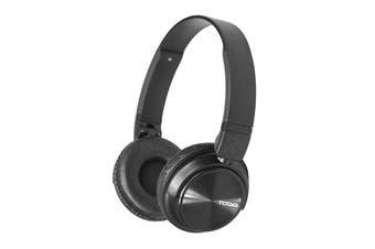 TODO Stereo Bluetooth 5.0 Headphone Earphones Rechargeable Battery Neodymium Driver - Black