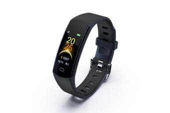 "Bluetooth V4.0 Fitness Band Watch Heart Rate Activity Monitor IP67 0.96"" OLED - Black"