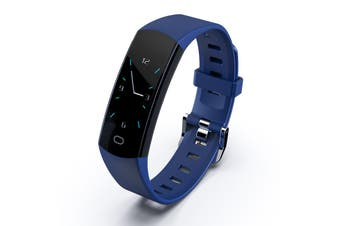 "Bluetooth V4.0 Fitness Band Watch Heart Rate Activity Monitor IP67 0.96"" OLED - Blue"