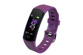 "Bluetooth V4.0 Fitness Band Watch Heart Rate Activity Monitor IP67 0.96"" OLED - Purple"