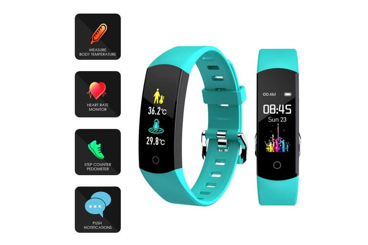 Bluetooth Fitness Band Smart Watch Thermometer Temperature BPM Monitor - Green
