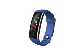"Bluetooth V4.0 Fitness Band Watch Heart Rate Blood Pressure IP68 0.96"" OLED - Blue"