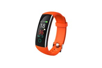 "Bluetooth V4.0 Fitness Band Watch Heart Rate Blood Pressure IP68 0.96"" OLED - Orange"
