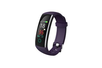 "Bluetooth V4.0 Fitness Band Watch Heart Rate Blood Pressure IP68 0.96"" OLED - Purple"