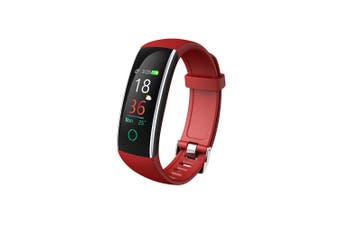 "Bluetooth V4.0 Fitness Band Watch Heart Rate Blood Pressure IP68 0.96"" OLED - Red"