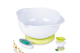 5Kg Kitchen Scale W/ 2 Bowl Lcd Display 1G Graduation Medicinal Tray Platform Scale