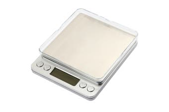 3Kg Stainless Steel Electronic Scale Clear Tray 0.1G Graduation Backlit Lcd Compact