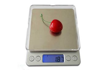 500G Stainless Steel Electronic Scale Clear Tray 0.01G Graduation Backlit Lcd Compact