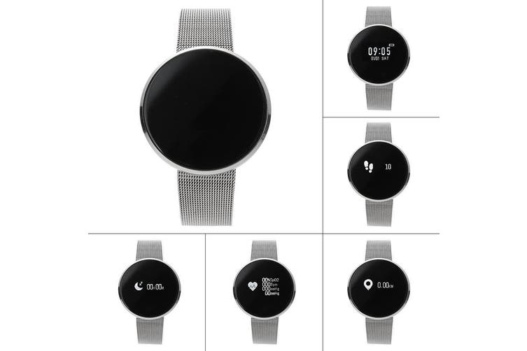 "Bluetooth V4.0 Smart Watch 0.96"" Oled Heart Rate Blood Oxygen Ip67 Silver Metal"