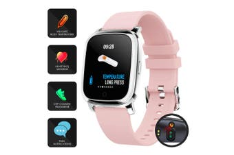 Bluetooth Smart Watch Thermometer Temperature Monitor Heart Rate - Pink
