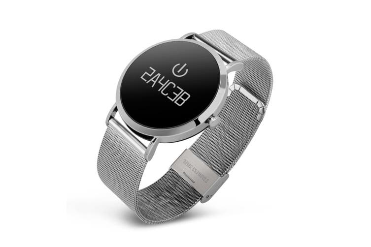 """Bluetooth V4.0 Smart Watch Heart Rate Blood Oxygen 0.95"""" Oled Ip67 - Metal Silver"""