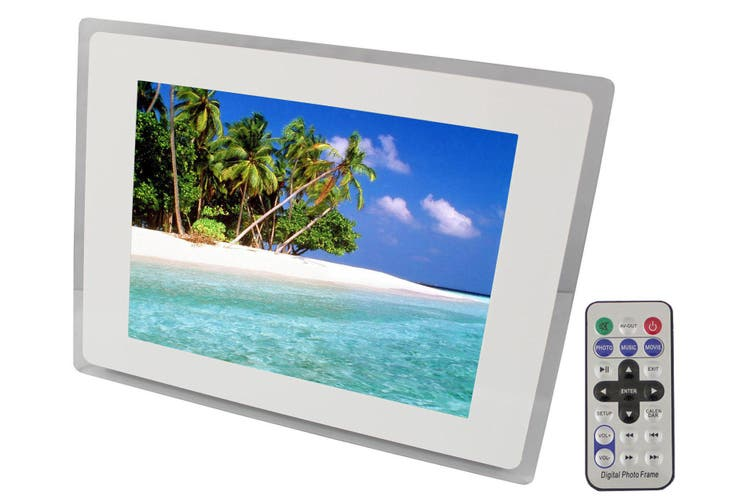 "10"" Digital Photo Frame Multimedia Player Usb Card Reader Jpeg Mp3 Avi White"