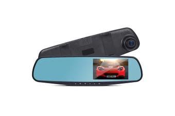 "Reverse Mirror Dual Front Rear Crash Cam Dvr Recorder Hd 1080P 4.3"" Lcd Dv110"
