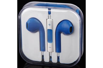 Handsfree Headphone Earphone W/ Mic For Apple Iphone 5 4 4S 3Gs Ipad Ipod Blue