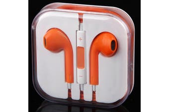 Handsfree Headphone Earphone W/ Mic For Apple Iphone 5 4 4S 3Gs Ipad Ipod Orange