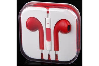 Handsfree Headphone Earphone W/ Mic For Apple Iphone 5 4 4S 3Gs Ipad Ipod Red